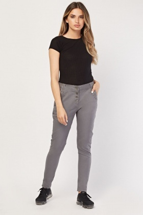 Encrusted Pocket Boyfriend Trousers