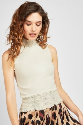 Sleeveless Shirred Neck Blouse