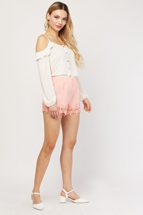 Flower Crochet Trim Shorts