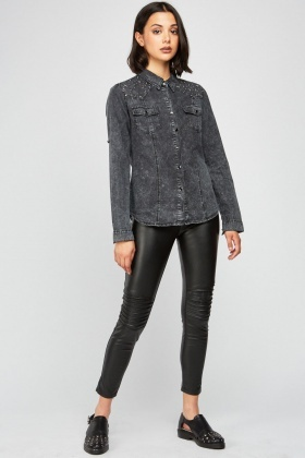 Studded Trim Denim Shirt
