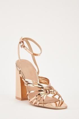 962dc9a61 Metallic Criss Cross Strap Block Heel Sandals
