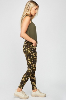 Camouflage Print Skinny Jeans