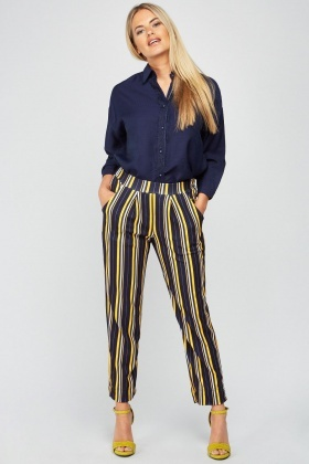 Striped Ankle Grazer Trousers