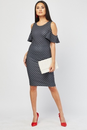 Cold Shoulder Polka Dot Print Dress