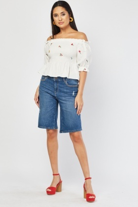 Wide Cut Bermuda Denim Shorts