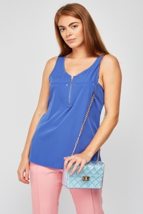 Zipper Front Chiffon Top