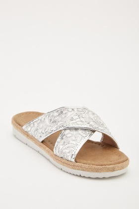 Embroidered Criss Cross Sliders