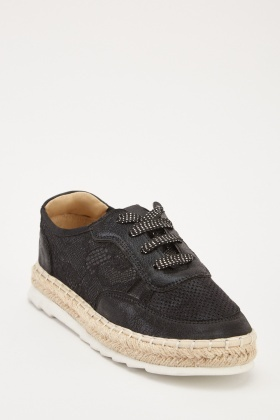 Lace Up Contrast Platformed Espadrilles