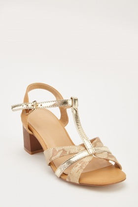 da4390d930ef Metallic Mock Croc Block Heel Sandals