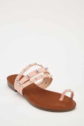 Studded Toe Loop Sandals
