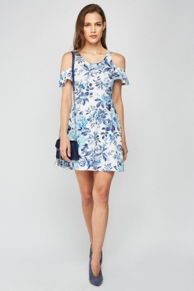 Cut Out Frilly Sleeve Dress