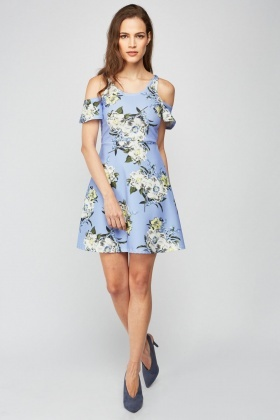 Flower Cold Shoulder A-Line Dress