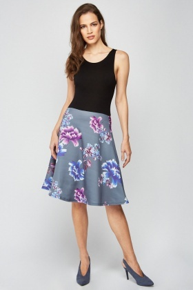 Placement Flower Print Dress