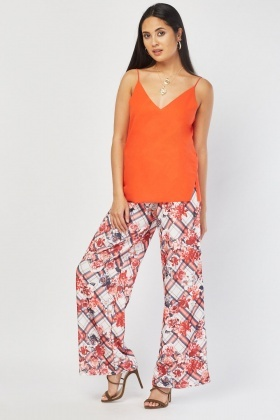 Wide Leg Floral Check Trousers
