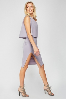 Asymmetric Overlay Bodycon Dress