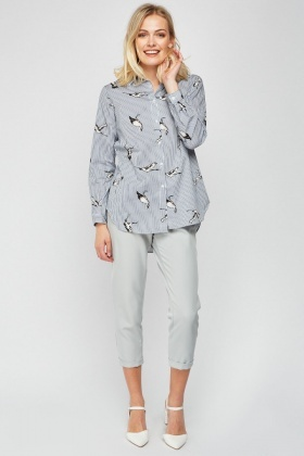 Bird Printed Stripe Shirt