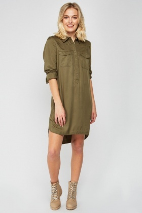 Pocket Front Dip Hem Shirt Dress