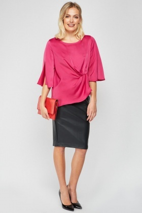 Sateen Twisted Front Blouse