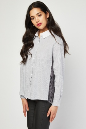 Lace Back Stripe Shirt