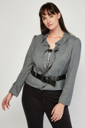 Ruffle Front Belted Blazer