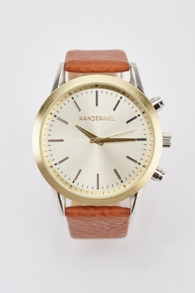 Classic Faux Leather Strap Mens Watch