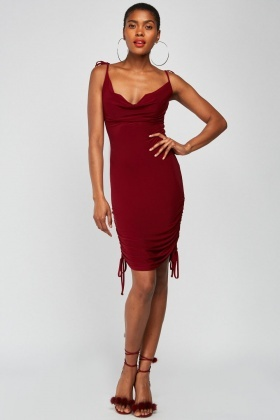 Cowl Neck Ruched Side Dress