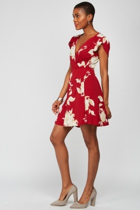 Flower Print Tie Up Tea Dress