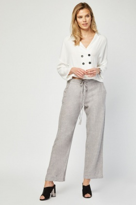 Grey Light Partly Linen Trousers