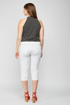 Low Waist Off White Capri
