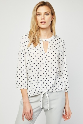 Tie Up Waist Polka Dot Blouse