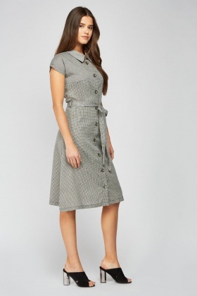 Belted Button Up Checked Dress