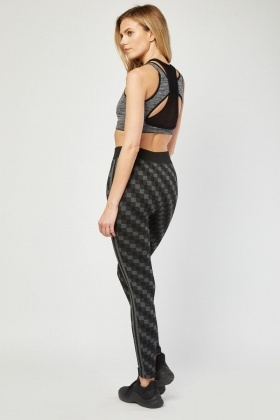 Checked Speckled Sports Leggings