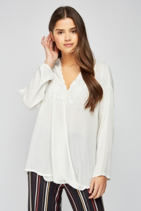Lace Trim Crinkled Wrap Blouse