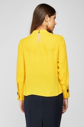 Long Sleeve Yellow Chiffon Blouse