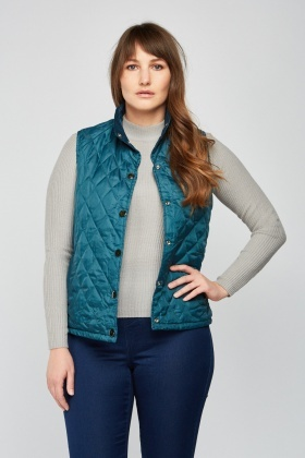 Reversible Quilted Teal Gilet