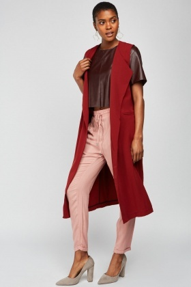 Sleeveless Long Line Duster Coat