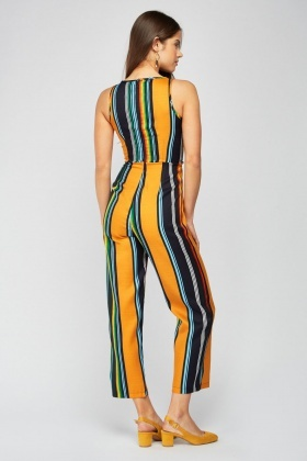 Sleeveless Vertical Stripe Jumpsuit