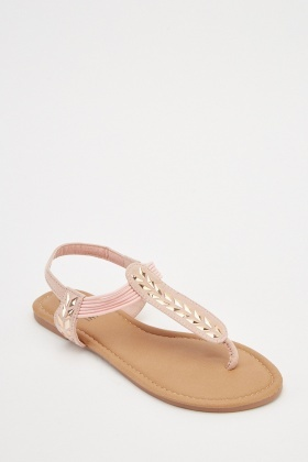 Encrusted Elasticated Strap Sandals