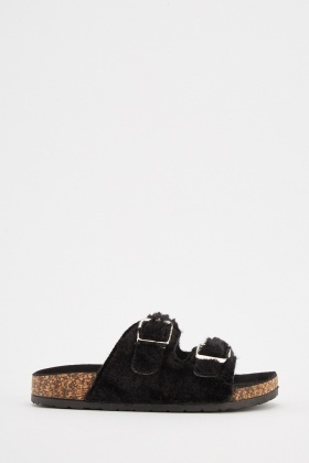 Faux Fur Buckled Sliders