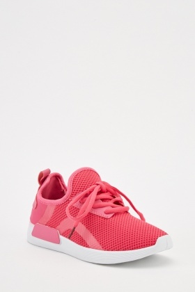 Lace Up Knitted Low Top Trainers