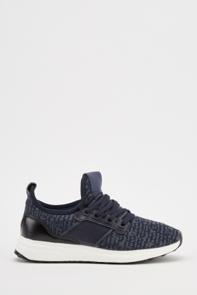 Lace Up Scattered Textured Trainers