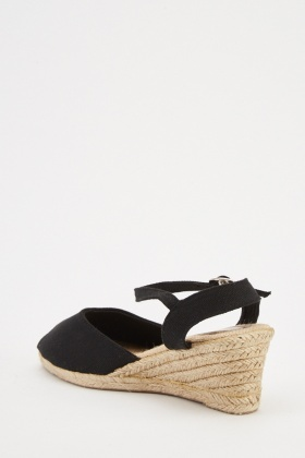 Textured Open Toe Wedged Espadrilles