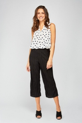 Crop Length Black Pleated Trousers