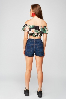 Denim Blue High Waist Shorts