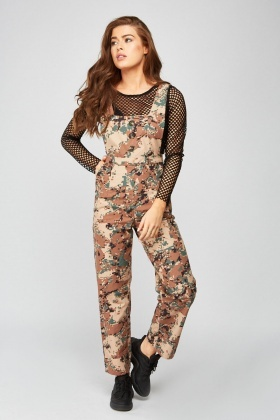 Digital Camo Print Pinafore Jumpsuit