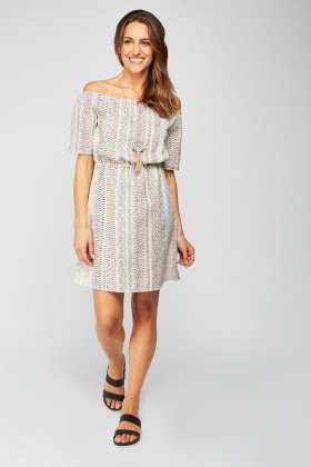 Off Shoulder Ethnic Pattern Dress