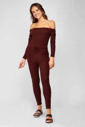 Off Shoulder Skinny Speckled Jumpsuit
