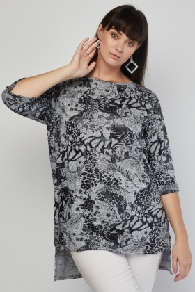 Textured Pattern Dip Hem Top