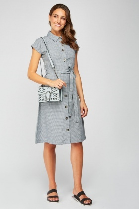 Tie Up Checked Shirt Dress