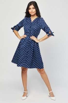 d000e17980 Button Front Polka Dot Flared Dress